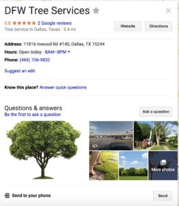 DFW Tree Services Google Listing