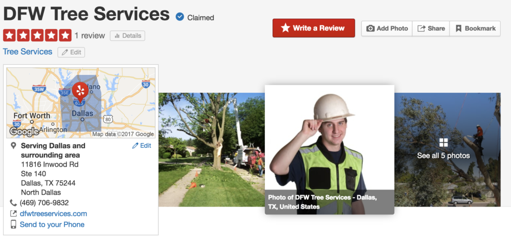 DFW Tree Services Yelp Page